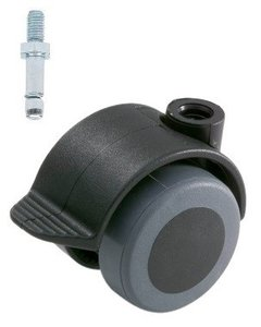 Meubelwiel Zwart Zacht + Rem 40 mm Stift M10