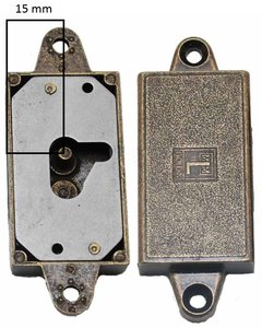 Meubelslot 15 mm rechts brons