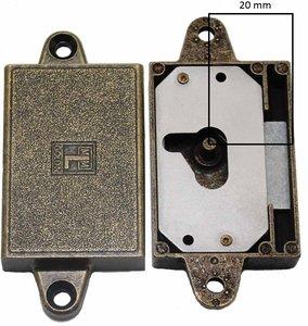Meubelslot 20 mm links brons