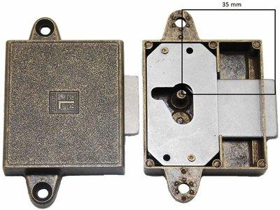 Meubelslot 35 mm links brons