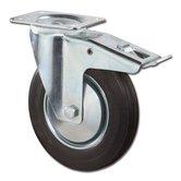 Transportwiel + Rem met bevestigingsplaat 100 mm