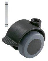 Meubelwiel Zwart Zacht + Rem 40 mm Stift 8 mm