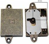 Meubelslot 25 mm links brons