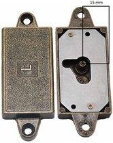 Meubelslot 15 mm links brons