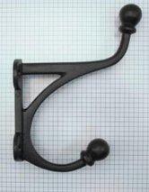 Kapstokhaak dubbel ijzer zwart 170 mm