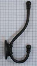 Kapstokhaak dubbel ijzer zwart 195 mm