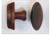 Knop rozenhout, ovaal, met freesrand, 82 x 35 mm