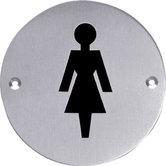 Pictogram rond WC dames rvs