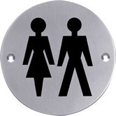 Pictogram rond WC dames en heren rvs